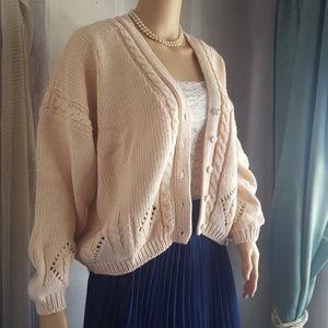 💖 Vintage Cropped Pastel Peachy Pink Sweater 💖
